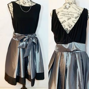 Camille La Vie Prom Dress Black & Silver EUC SZ 14